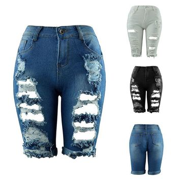 Ripped / holes distressed soft denim Bermuda shorts ~ 3 colors