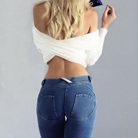 Thicken Gym Pencil Pants Hip Up Stretch Low Waist Sports Jeans [52179468314]