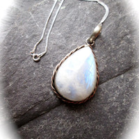 Moonstone Silver Necklace - Sterling Silver Encased Moonstone Gemstone on Sterling Silver Chain - Boho Rustic Romantic Boho Wicca Necklace