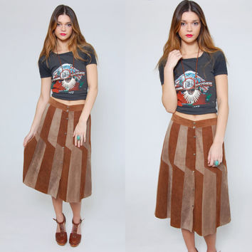 Vintage 70s PATCHWORK Suede Skirt Caramel Leather Hippie Skirt Boho Midi Skirt