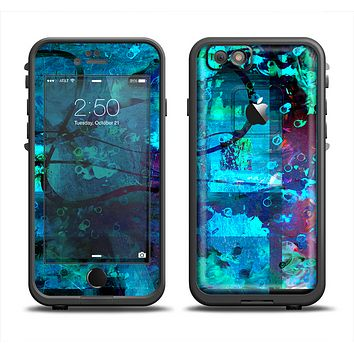 The Abstract Blue Vibrant Colored Art Skin Set for the Apple iPhone 6 LifeProof Fre Case