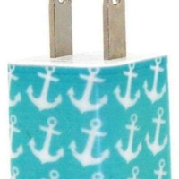 Teal Anchor Phone Charger