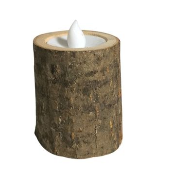 Wooden LED Candle Tea Light Holder Candle