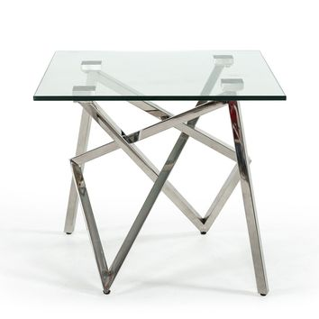 Modrest Hawkins Modern Glass & Stainless Steel End Table
