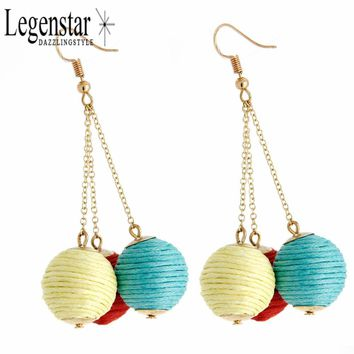 Legenstar Fashion Thread Ball Dangle Earring Bohemian Jewelry for Women Statement Earrings Bon Bon Long Chain Drop Crispin Ear