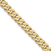 Men's 5.75mm 14k Yellow Gold Solid Beveled Curb Chain Necklace