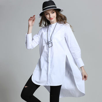 Women White Shirt Plus Size Button Up Oversize Asymmetrical Cotton Shirts