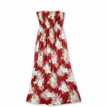 Hibiscus Isles Red Maxi Hawaiian Dress