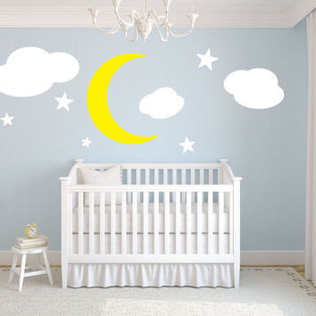 "Moon stars and clouds kids room vinyl wall decal graphic 20"" Tall Home Decor"