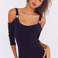 Silence + Noise Jazzy Knit Cold-Shoulder Romper | Urban Outfitters