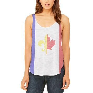 French Canadian Flag Juniors Flowy Side Slit Tank Top