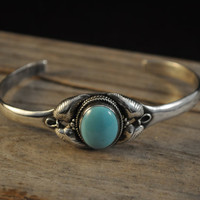 Turquoise sterling silver cuff bracelet Native American jewelry for mom size 7.5  JP1054