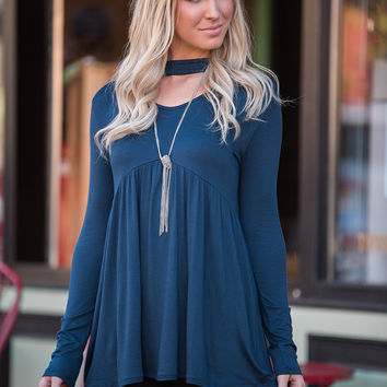 Kill the Lights Choker Babydoll Top (Midnight Blue)