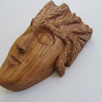 Garden Sculpture Hand Carved Wise Woman Porch Sculpture Birthday Wood Anniversary Wall Decor Room Decor Corbel Wall Hanging