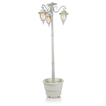 HGTV HOME Solar-Powered Post Light with Planter and Triple Laterns at HSN.com