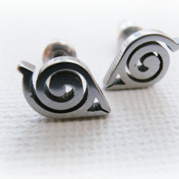 Naruto men earrings - Naruto sterling silver post earrings - Hidden Leaf Village jewelry - Konohagakure earrings