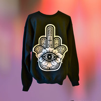UNISEX Lotus Hamsa Finger Evil Eye Protector Sweatshirt // fASHLIN.