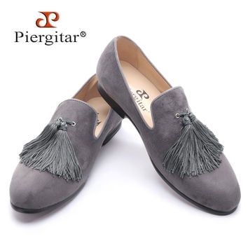 new black and gray color velvet men handmade shoes with exquisite tassel party men loafers men's dress shoes