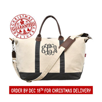 Personalized Extra Large Canvas with Grey And Faux Leather Trim Weekender Travel Duffel With Removable Strap