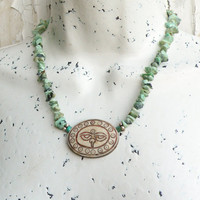 Eyes of Buddha Necklace with Turquoise and Sterling Silver