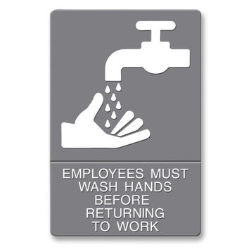 "u.s. stamp & sign ada sign, ""wash hands"", adhesive, 6""x9"", white/gray Case of 3"