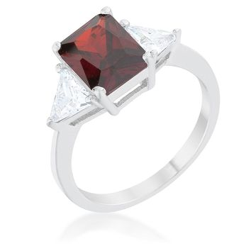 WildKlass Classic Garnet Rhodium Plated Engagement Ring