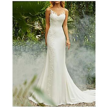 Mermaid / Trumpet V Neck Sweep / Brush Train Chiffon Spaghetti Strap Mordern Backless Made-To-Measure Wedding Dresses with Lace Insert 2020
