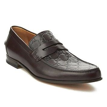 Gucci Men's Leather GG Imprinted Loafer Shoes Dark Brown
