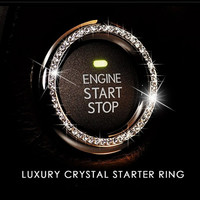 Engine Ignition Key Start Button Rhinestone Ring, Bling Crystal Interior Decoration for Car / Suv / Truck