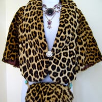 MAGNIFICENT 1950 Mid Century Real Leopard Fur Wrap Stole And Matching Muff Purse - Excellent Condition Beautifully Cared For Rich Glamorous