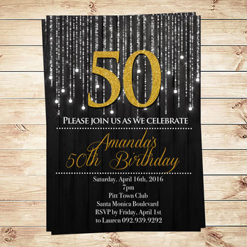 Gold And Black 50th Birthday Invitations and Announcements, Black and Gold Birthday Party Invitations, black and gold, Art Party Invitation