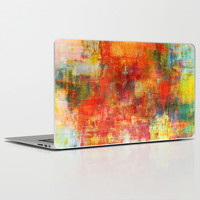 AUTUMN HARVEST - Fall Colorful Abstract Textural Painting Warm Red Orange Yellow Green Thanksgiving Laptop & iPad Skin by EbiEmporium