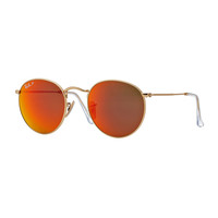 Polarized Round Metal-Frame Sunglasses with Orange Mirror Lens - Ray-Ban