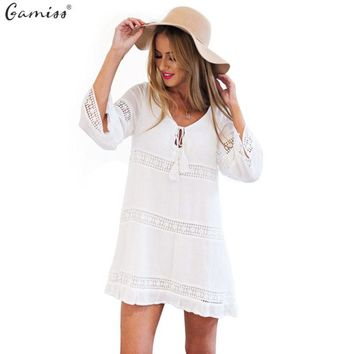 Spring 2016 Women Summer Dress Female Sexy Hollow 3/4 Sleeve Lace Boho Beach Dress Casual Loose White Short Mini Dress vestido