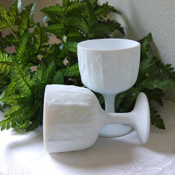 Pair Small Oak Pattern FTD Milk Glass Planters