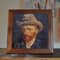 Van Gogh Ceramic Tile Coaster Set Artwork Trivet Hot Plate Pot Stand Plant Splashback Kitchen Decor Tile Interior Tile Coasters