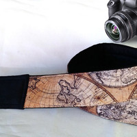 World Map Camera Strap. Vintage Camera Strap. Camera Accessories