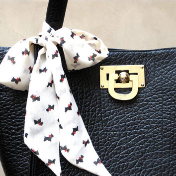 Scottie Printed Purse Scarf Scottish Terriers Black Dogs with Red Bows Hair Scarf Hair Bow Hat Band I LOVE DOGS Dog Lover Scarf Cream