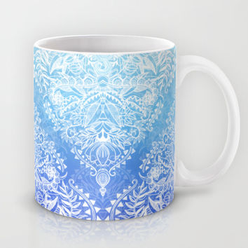 Out of the Blue - White Lace Doodle in Ombre Aqua and Cobalt Mug by Micklyn