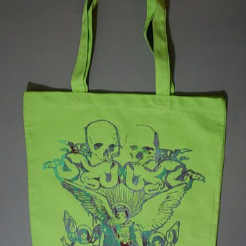 neon green tote, boho tote, heavy metal, green tote bag, canvas tote bag, lime green, ooak,  Unisex tote bag