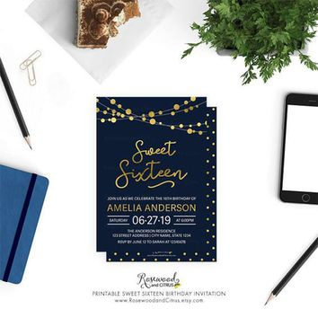 Printable Sweet Sixteen Birthday Invitation, Sweet 16 Invite, Elegant Sweet 16 Invitation, Strings of Lights Sweet Sixteen Invitation