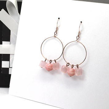 Blush Pink Earrings / Light Pink Earrings / Rose Gold Hoops / Large Hoops / Pink Hoop Earrings / Boho Chic Earrings / Boho Hoop Earrings