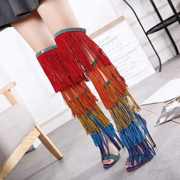 tassels sandals summer boots Women Gladiator Sandals Knee long boots Summer sandals Peep Toe high heels platform sandals D1052