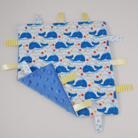 Nautical Boy Baby Gift - Whale Tag Blanket - Baby Boy Gift - Boy Tag Blanket - Nautical Tag Blanket