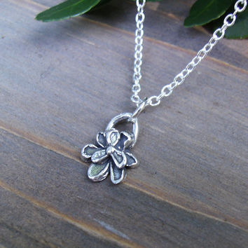 Sterling Silver Flower Pendant Necklace, Sterling Silver Rustic Artisan Charm, Sterling Silver Chain Necklace, Dainty, Layering, Minimalist
