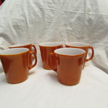 Pyrex Coffee Cups, D Handle Mugs, Burnt Orange/Rust Color, Set of 5 Vintage Retro Cups