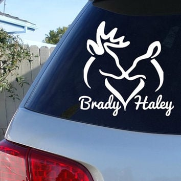 Deer couple car decal couple names decal sticker