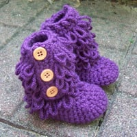 crochet baby boots purple baby booties 0 to by stitchesbystephann
