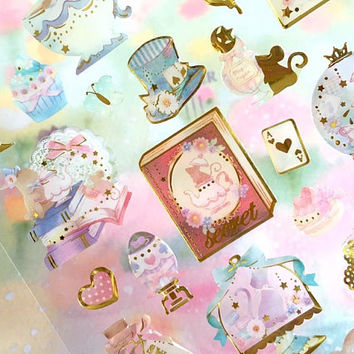 princess tea time sticker Alice in wonderland theme magic world rabbit secret book dream world teapot Epoxy sticker Fancy sticker gift
