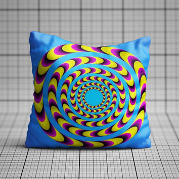 Optical illusion spiral pillow cushion cover